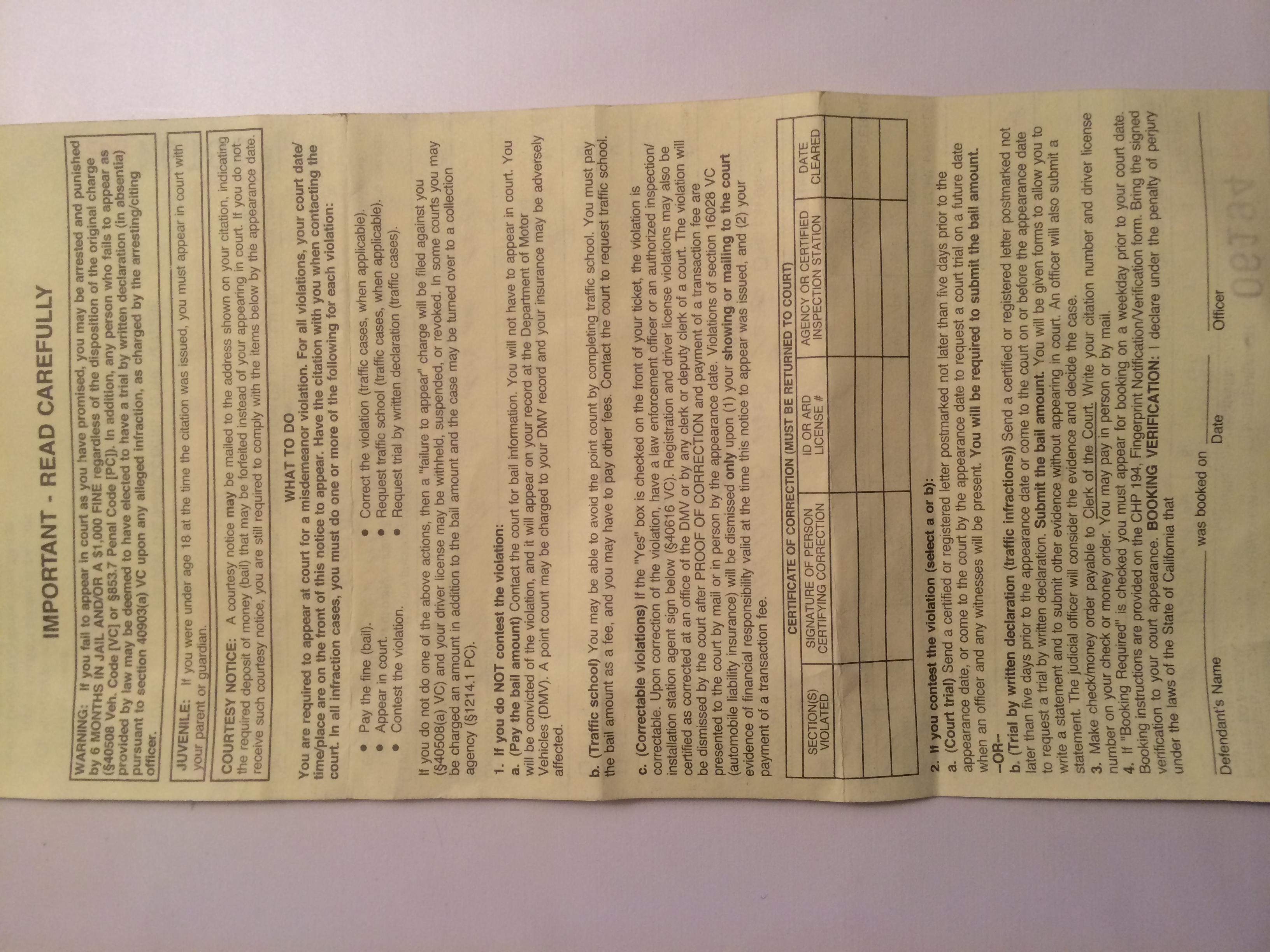 yellow ticket notice