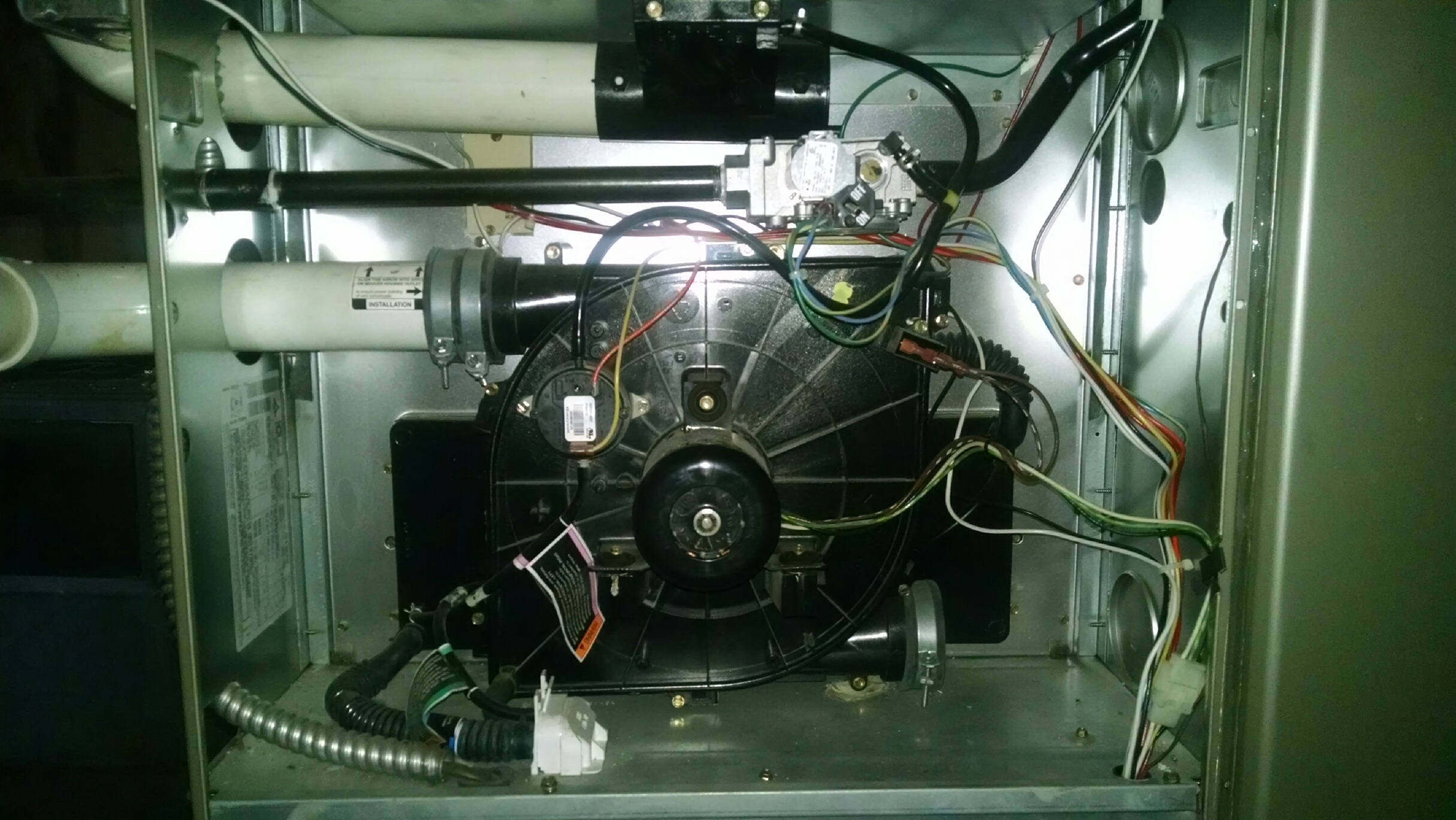 View of furnace electronic & blower guts