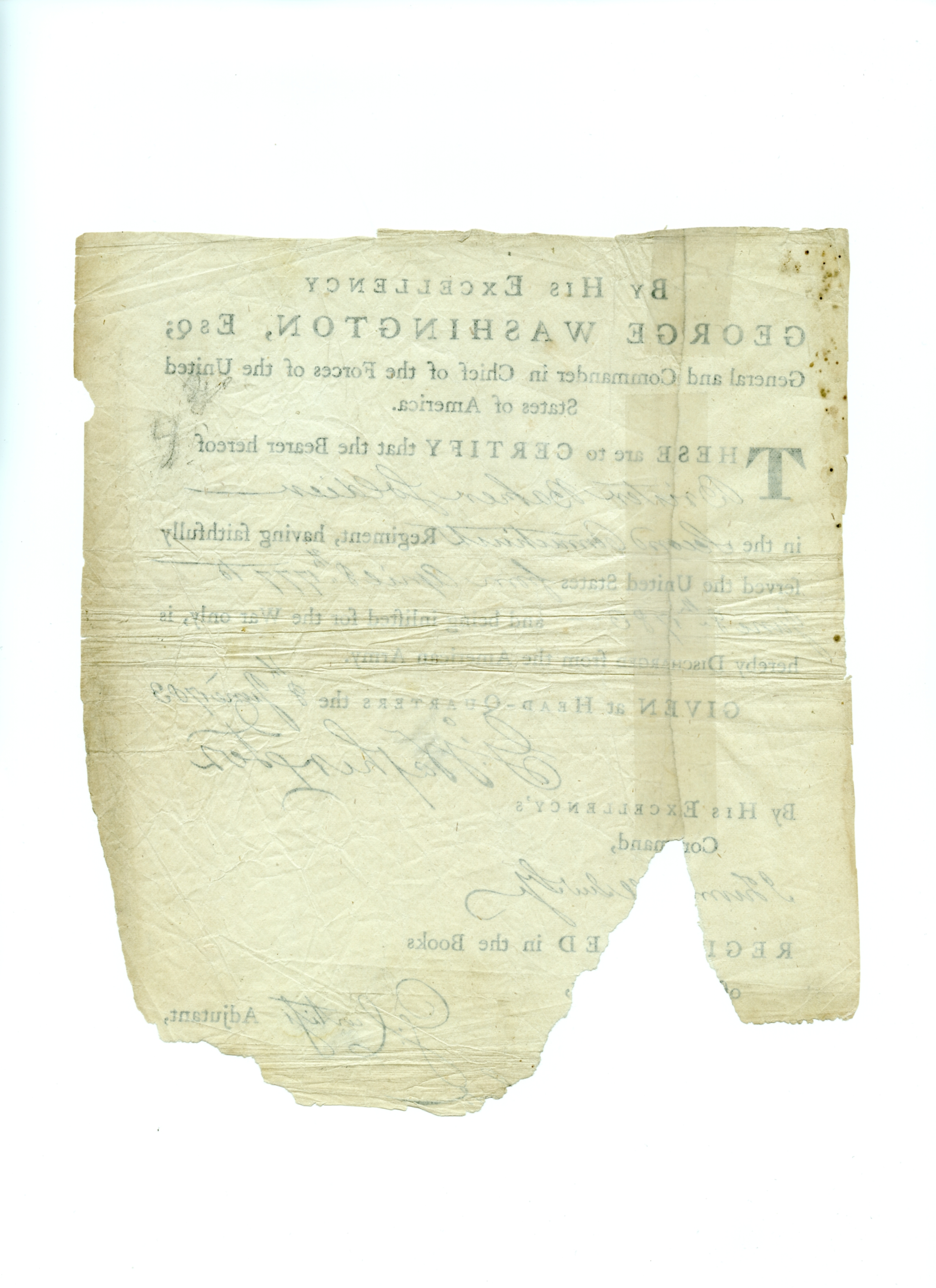 Wahington signed Continental Army discharge verso.jpg